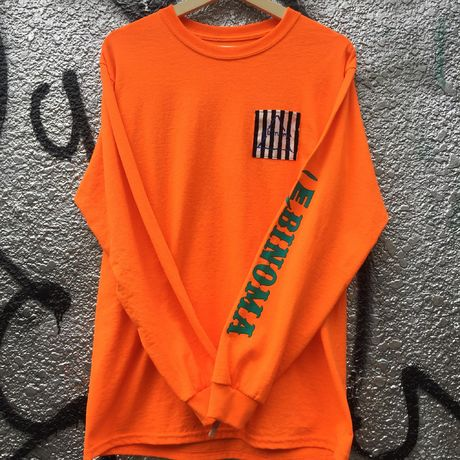 EBINOMA BRAND GOD STRIPE Pocket L/S Tee(Orange)