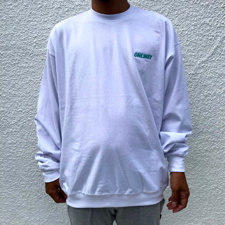 """ONEWAY™"" Embroidery LOGO L/S TEE-WHITE-"
